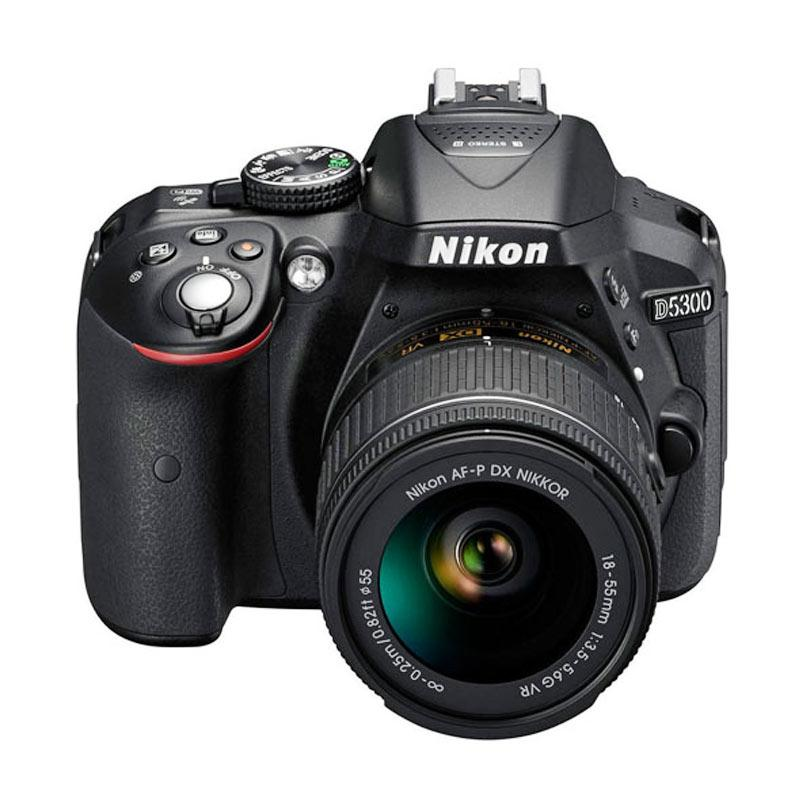 Nikon D5300 Kit AF-P 18-55mm VR Kamera DSLR - Hitam + Screenguard Terpasang | D5300