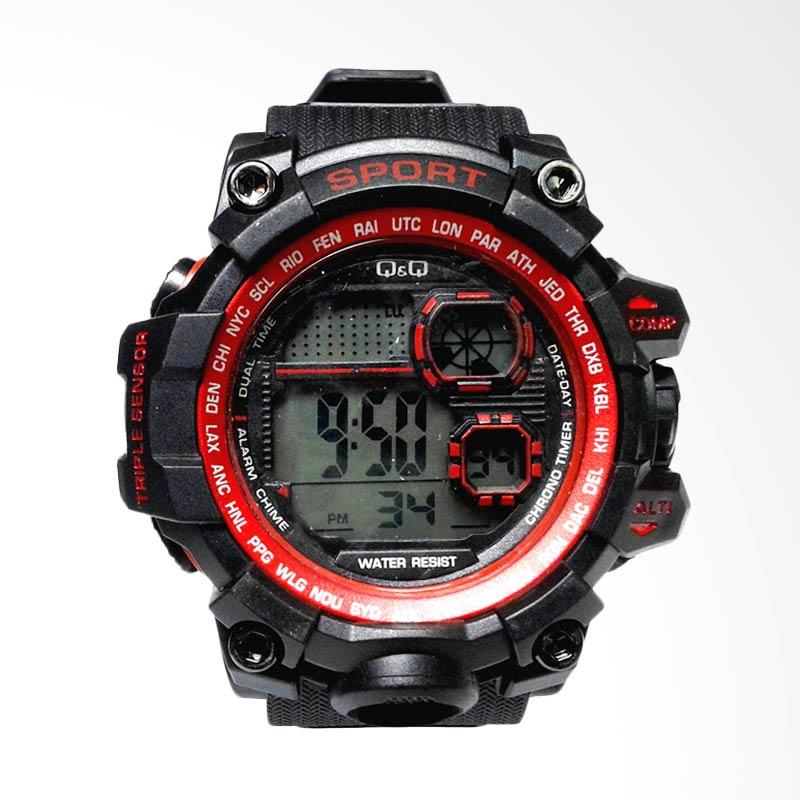 QnQ Digital Sport Jam Tangan Pria - Black Red