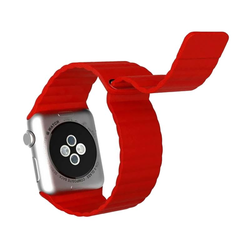 LOLLYPOP Leather Loop Band for Apple Watch 42mm - Red