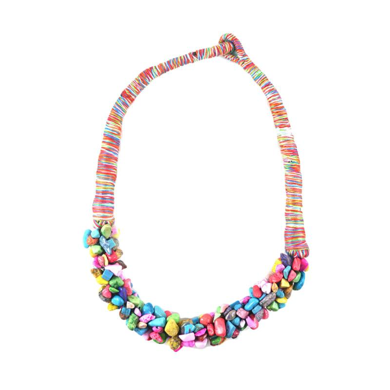 Momy Ribbon Multi Pebble Necklace