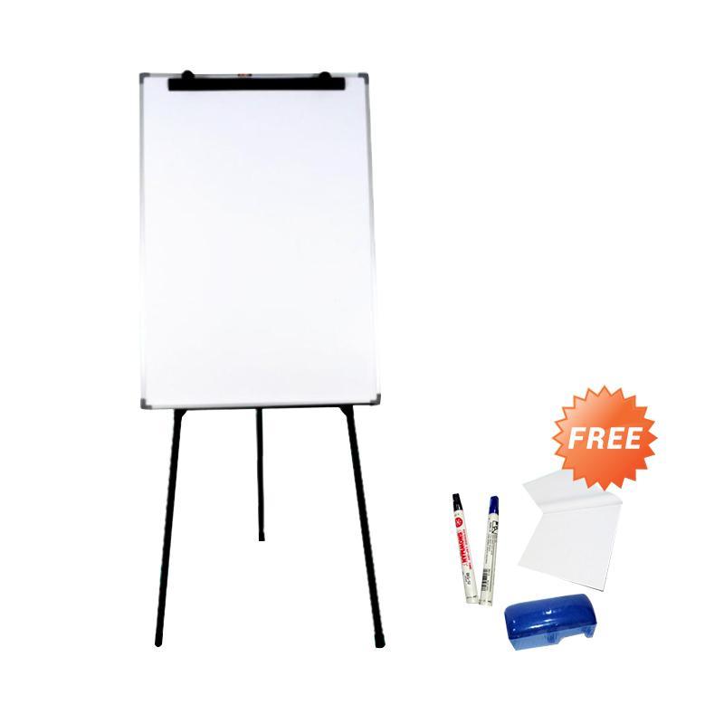 Keiko Flip Chart Papan Tulis - White Black [70 x 100 cm] + Free Perlengkapan Tulis