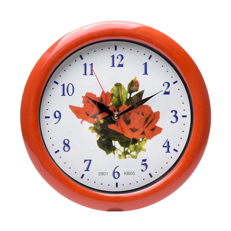TJ kb 05 Motif Flower Jam Dinding - Ring Merah [29cm]