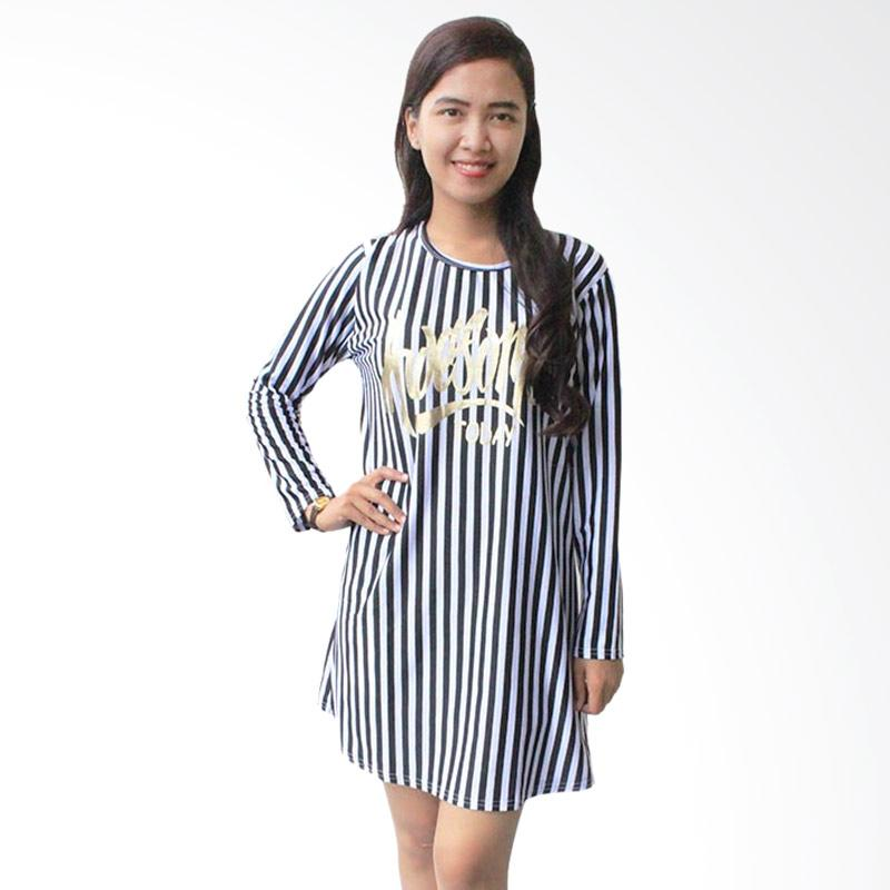 Aily 2067 Vertical Stripe Mini Dress - Hitam