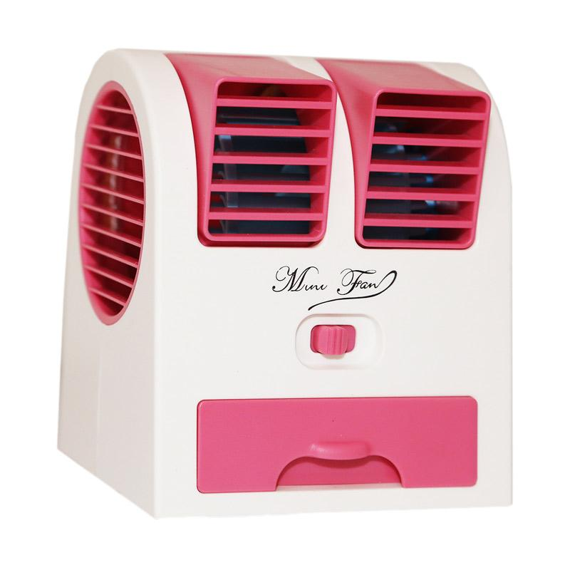 Goshop Double Blower Mini Fan AC Portable - Pink Pink