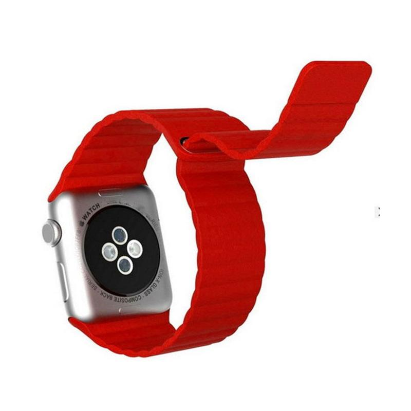 LOLLYPOP Strap Leather Loop Band for Apple Watch 38mm - Red