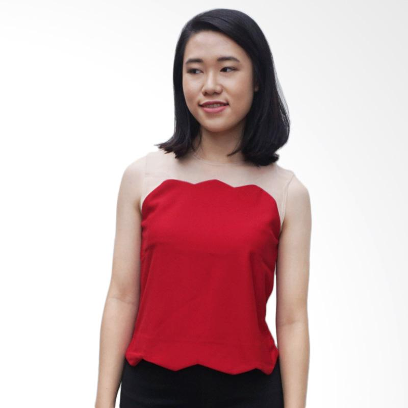 KULO Scallop Mesh Top Atasan Wanita - Red