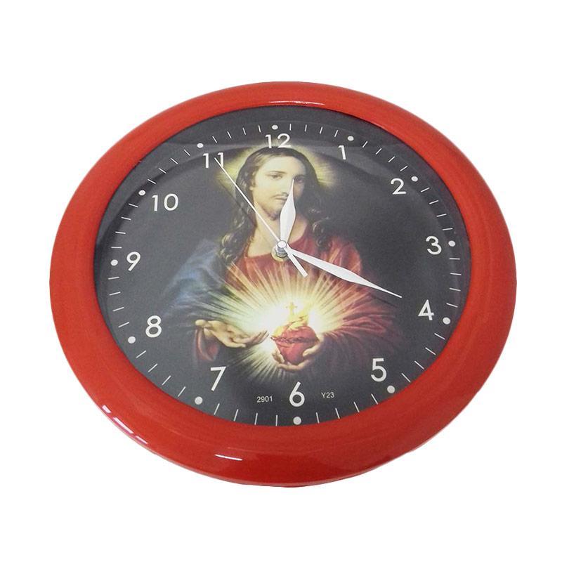 TJ Motif Yesus y 23 Jam dinding - Ring Merah [29cm]
