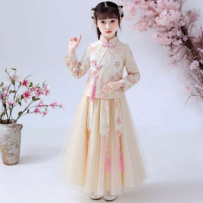 Setelan Cheongsam Anak Perempuan Premium Huan Zhu Cream Set 6in1