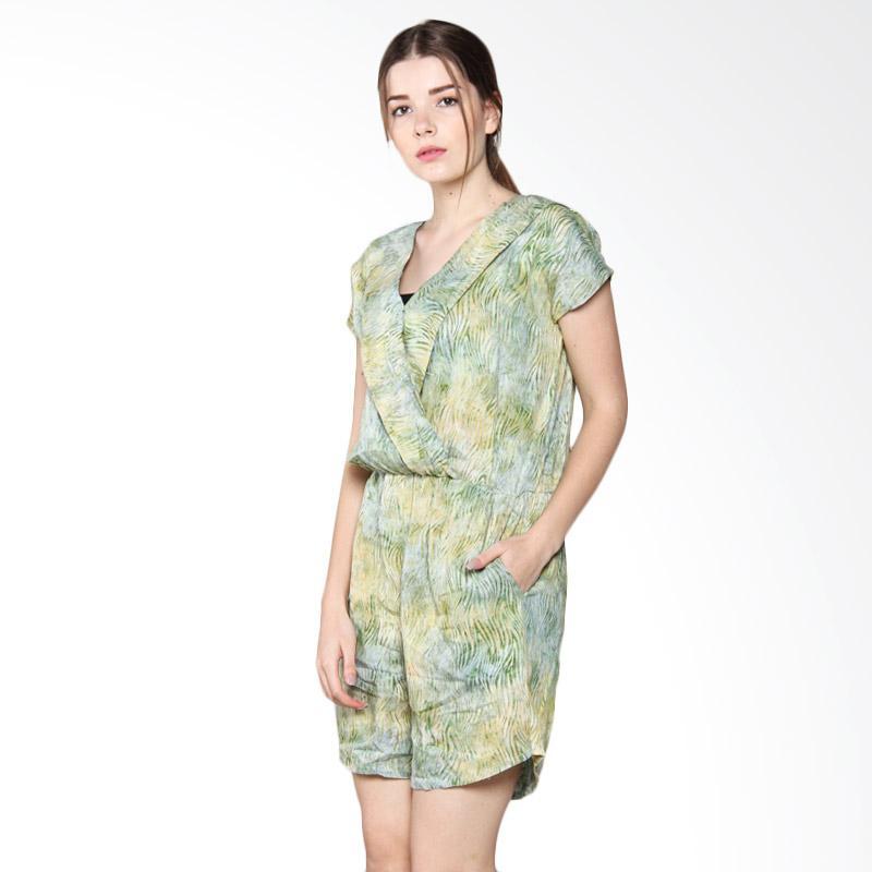 Debra Lunn JSTL Cap Short Waved Marble Jumpsuit Batik Wanita - Green