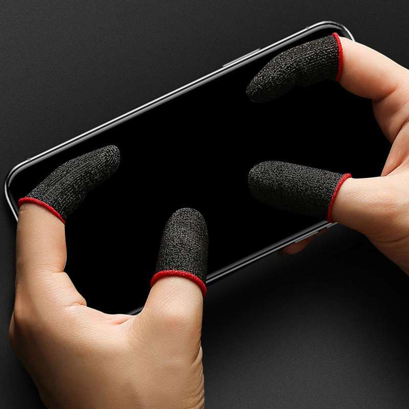 Mobile Game Controller Finger Sleeve for Knives Out black red