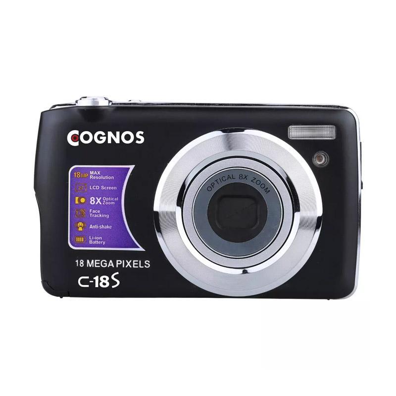 Cognos C18s Kamera Pocket - Hitam [18 MP/2.7 Inch/TFT LCD Display/8x Zoom]