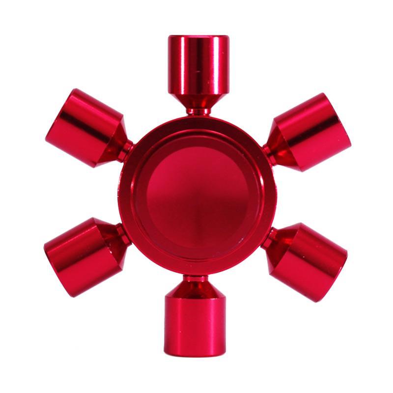 Premium Fidget Spinner Bagikan Electronicmart Metal Brass Hexagon 2 6 Sisi Besi A7 Hand Spinner - Merah