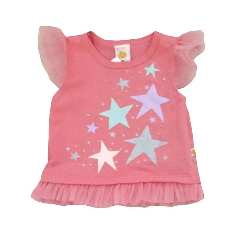 PLEU Blus Bintang Pakaian Anak Perempuan - Peach