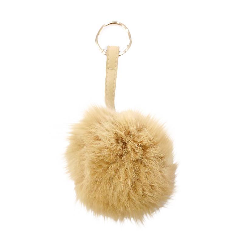 SIV FUR10 Key Chain Bulu Polos Gantungan Kunci - Brown