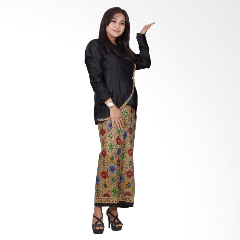 Batik Putri Ayu Solo D90 Semi Sutra Setelan Dress Batik - Hitam