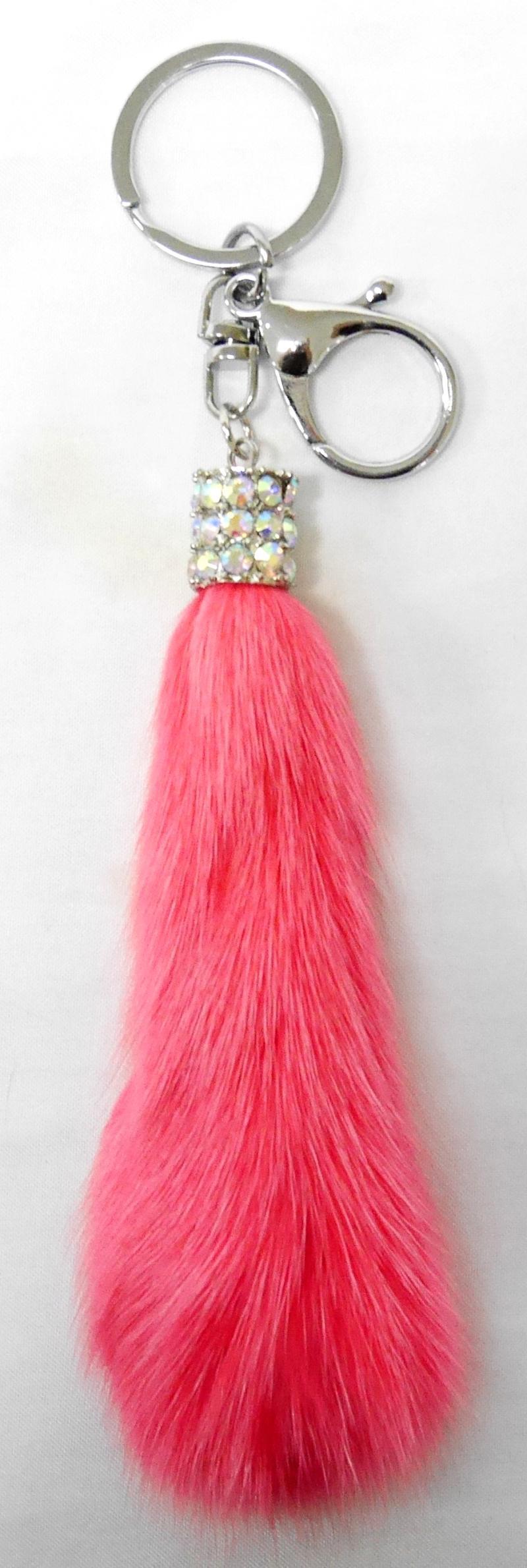 SIV BLD05 Gantungan Kunci Bulu Kombinasi Manik Key Chain - Salmon Pink