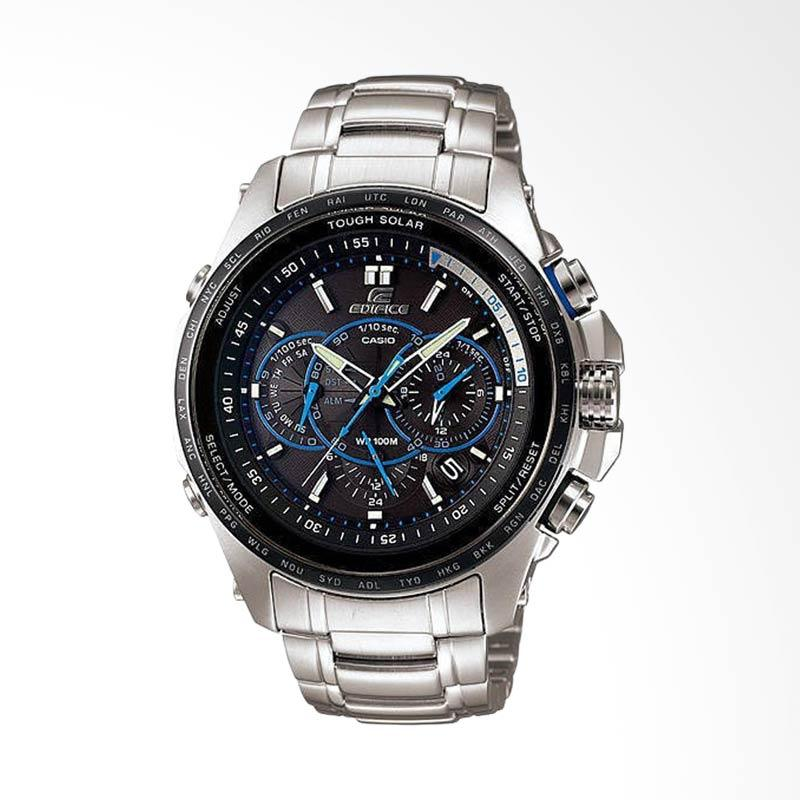 CASIO EDIFICE World Time Solar Powered Stainless Steel Strap Chronograph Jam Tangan Pria .