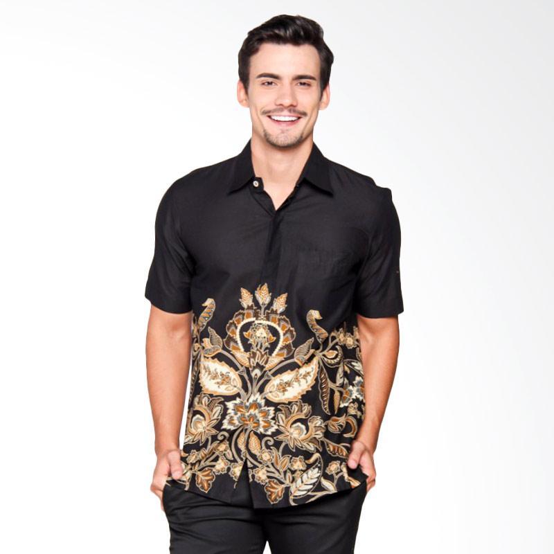 Batik Heritage Katun Flower Down Slim Fit Baju Batik Pria - Hitam