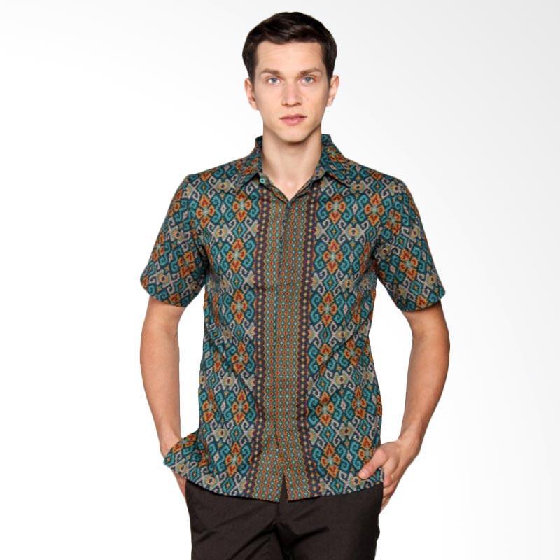 Batik Heritage Katun Songket Adu Manis Slim Fit Kemeja Batik Pria - Toska