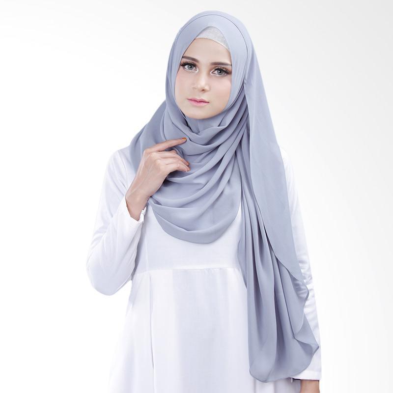 Cantik kerudung Bella Queen Hijab Instant - Bluish Grey No.4