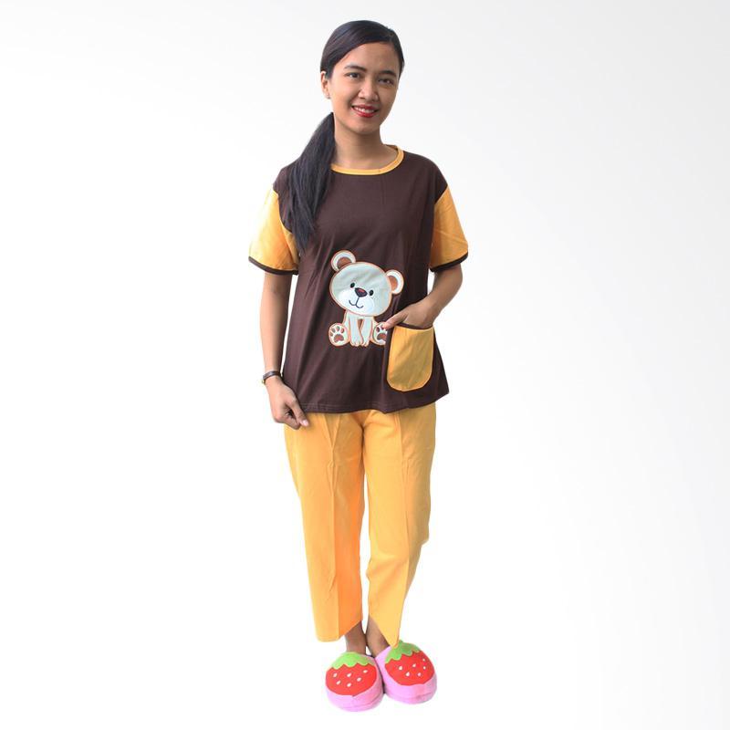 Aily SL028 Setelan Baju Tidur Wanita - Coklat