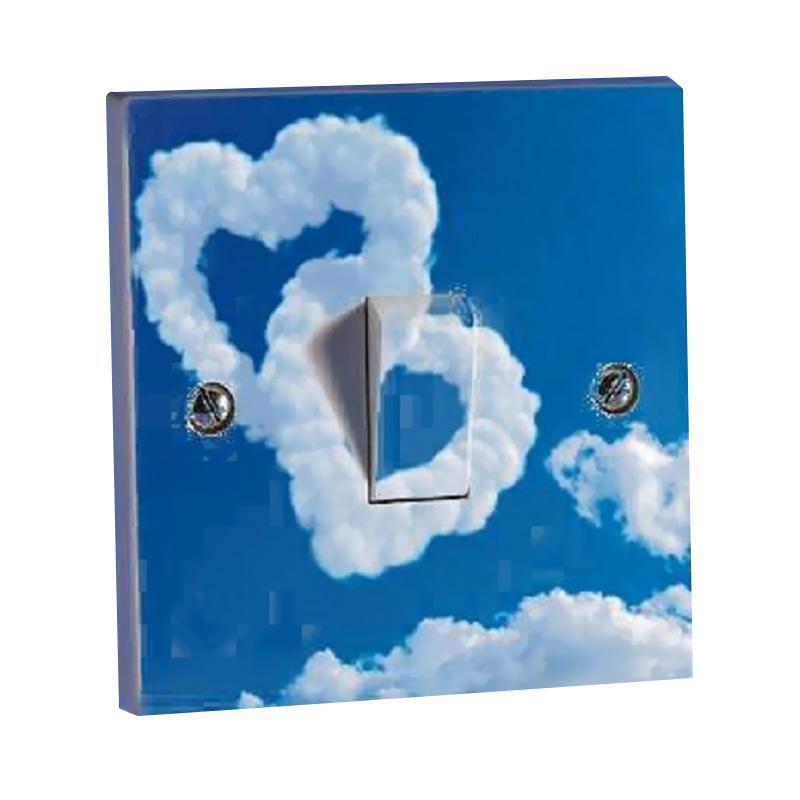 OEM Motif Awan Love Saklar Lampu Sticker - Biru