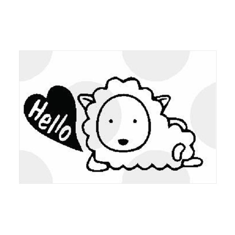 OEM Laptop Tombol Lampu Domba Sheep Hello Cutting Sticker