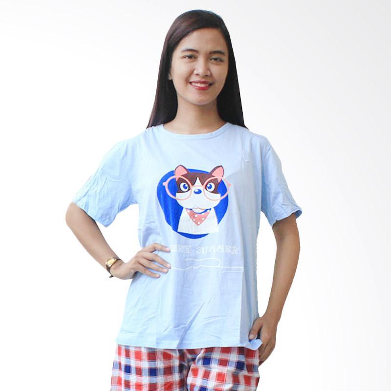 Aily SL031 Setelan Baju Tidur Wanita - Biru Muda