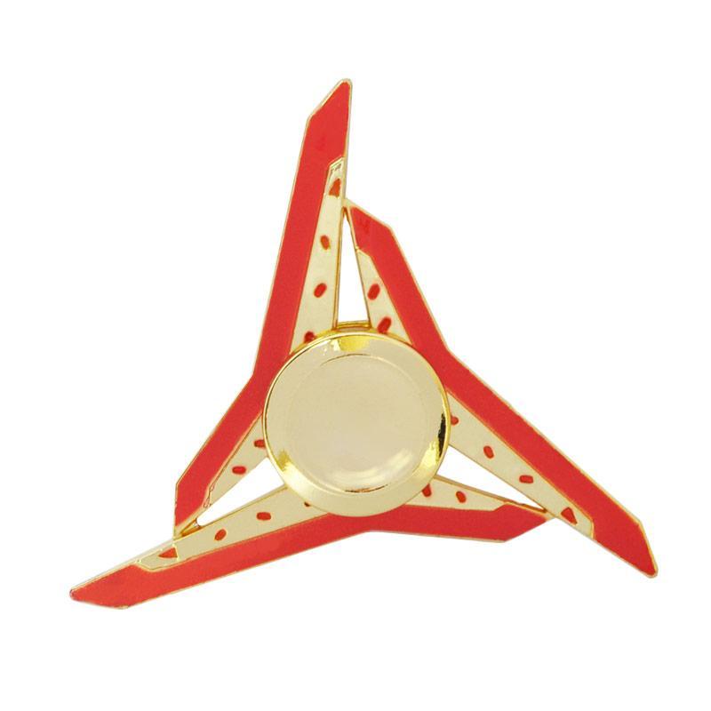 SMILE Metal 3 Side Triangle Genji Shuriken Naruto Fidget Hand Spinner - Red Gold