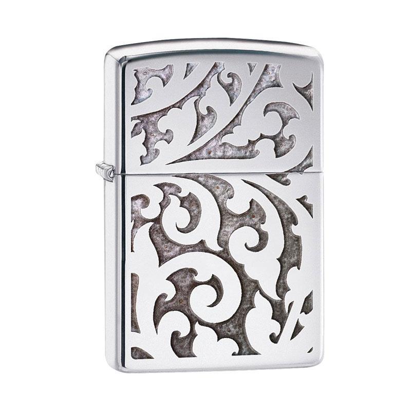 Zippo High Polish Chrome Filigree Windproof Pocket Lighter