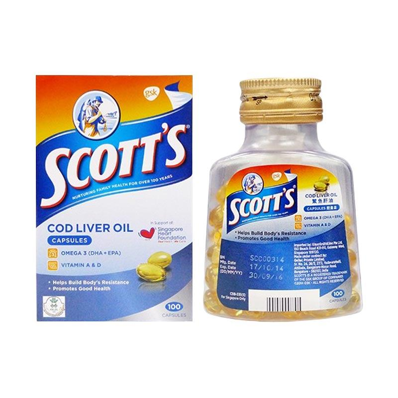 Scott's Emulsion Cod Liver Oil Capsules Multivitamin 500 Capsules (Made In India for Singapore Only)