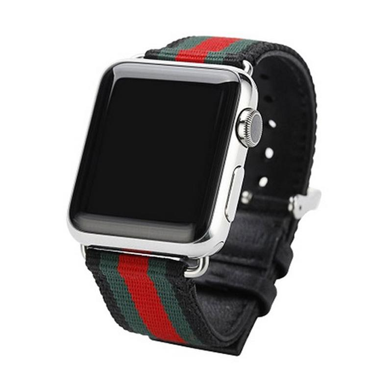 OEM Fabric Gucci Strap for Apple Watch 38 mm - Black