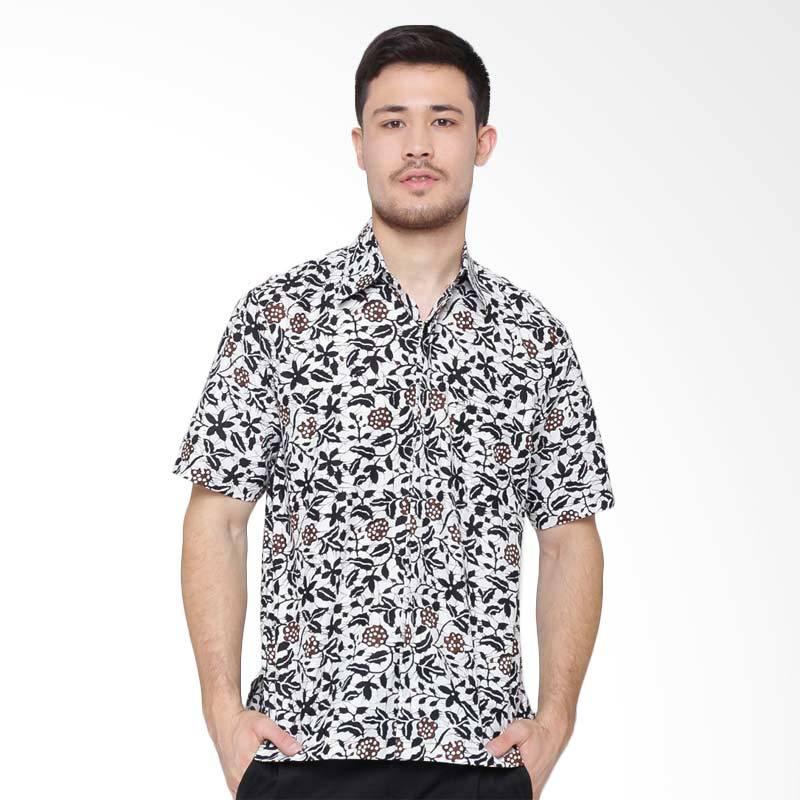 Jening Batik Short Sleeve Kemeja Pria - White Black RAFA-005