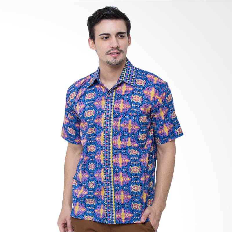 Jening Batik Kemeja Batik Pria Short Sleeve - Blue HR-028