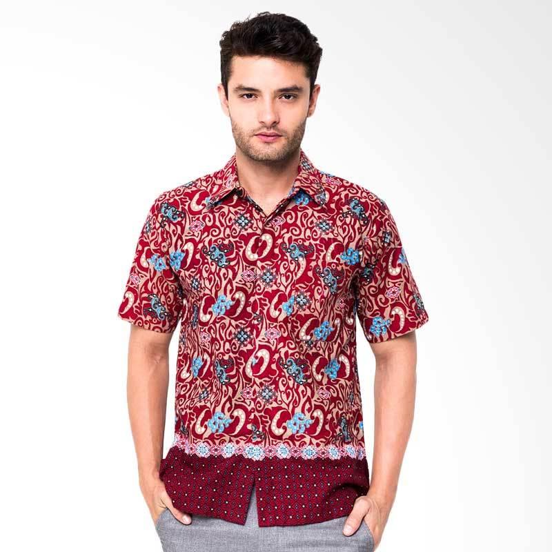 Jening Batik Short Sleeve Batik Lengan Pendek Pria - Red HR.037
