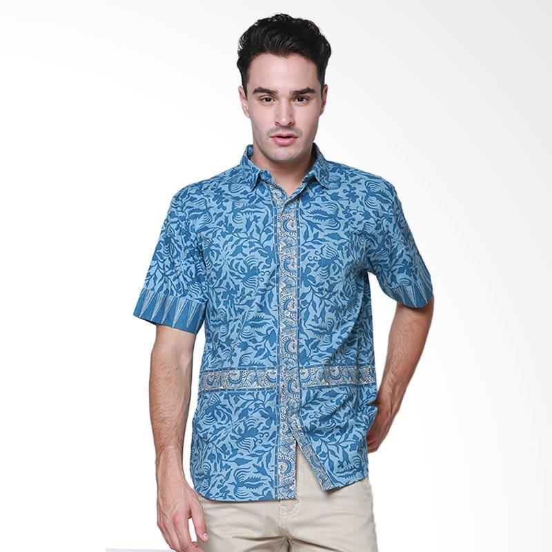 Days by Danarhadi Men Lung Segoro Pale Vertical Baju Batik Pria - Blue