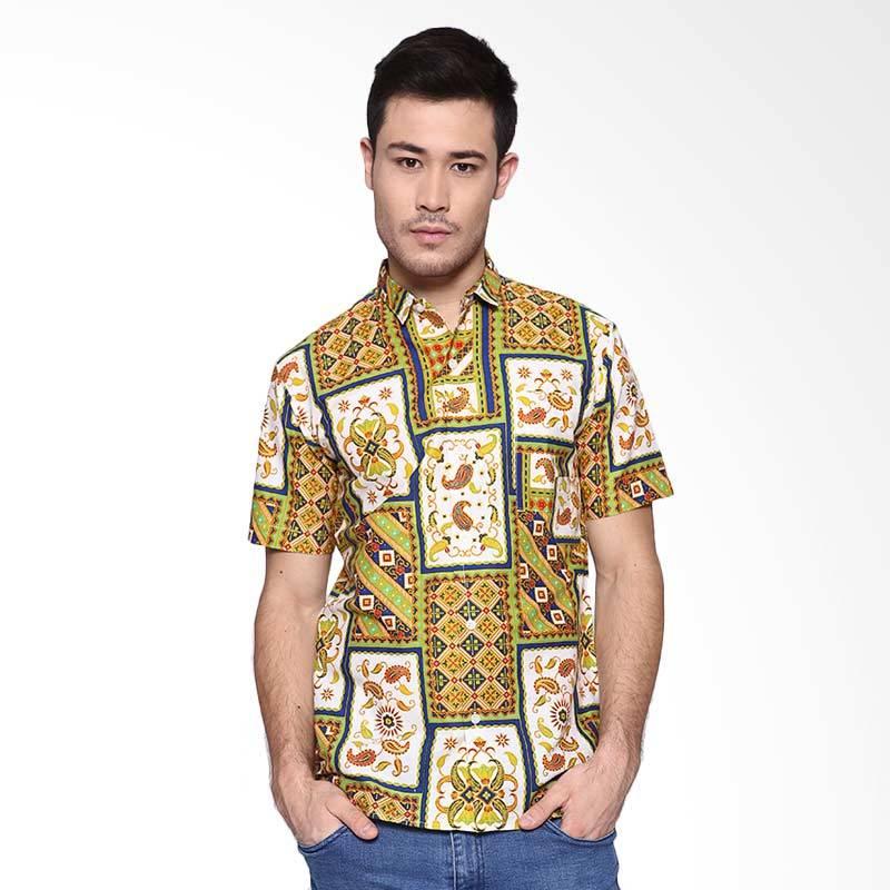 Days by Danarhadi Men Kotak Asimetris Baju Batik Pria - Green