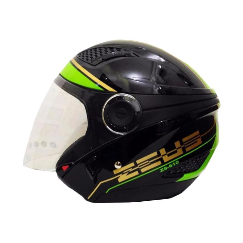 Zeus ZS-610K Grafik Double Visor Helm Half Face - Hitam 017 Hijau