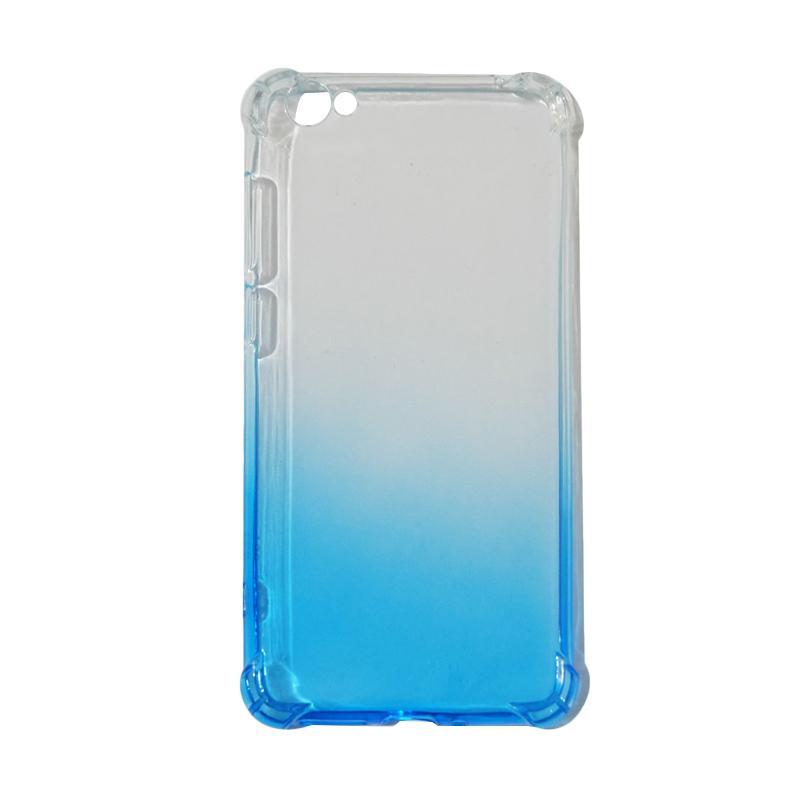 QCF BUY 1 GET 1 Softcase Anti Shock Anti Crack Warna Gradasi Silicone Casing for Vivo Y55 Ultrathin / Case Unik - Biru (Free Warna Random)