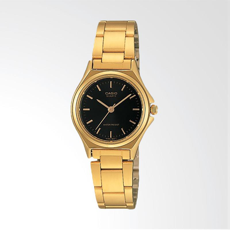 Casio LTP-1130N-1ARDF Enticer Ladies Black Dial Gold Stainless Steel Jam Tangan Wanita