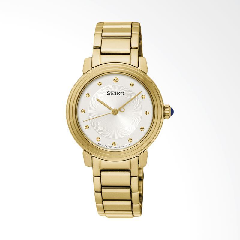 Seiko SRZ482P1 Ladies White Dial Gold Stainless Steel Bracelet Jam Tangan Wanita - Gold