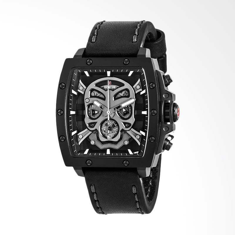 Expedition Man Skeleton Black Dial Black Leather Strap Set Jam Tangan Pria - Black EXF-6688-MCLIPBA