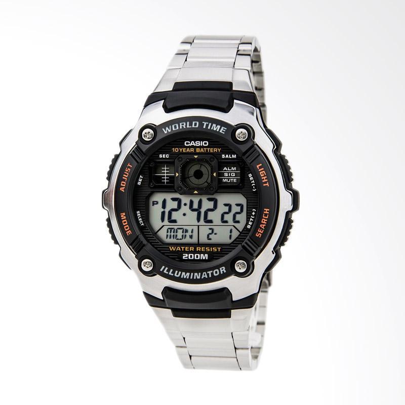 CASIO Men's Silver-Tone Multi-Functional Digital Sport Watch Jam Tangan Pria - Black Silver AE2000WD-1AV