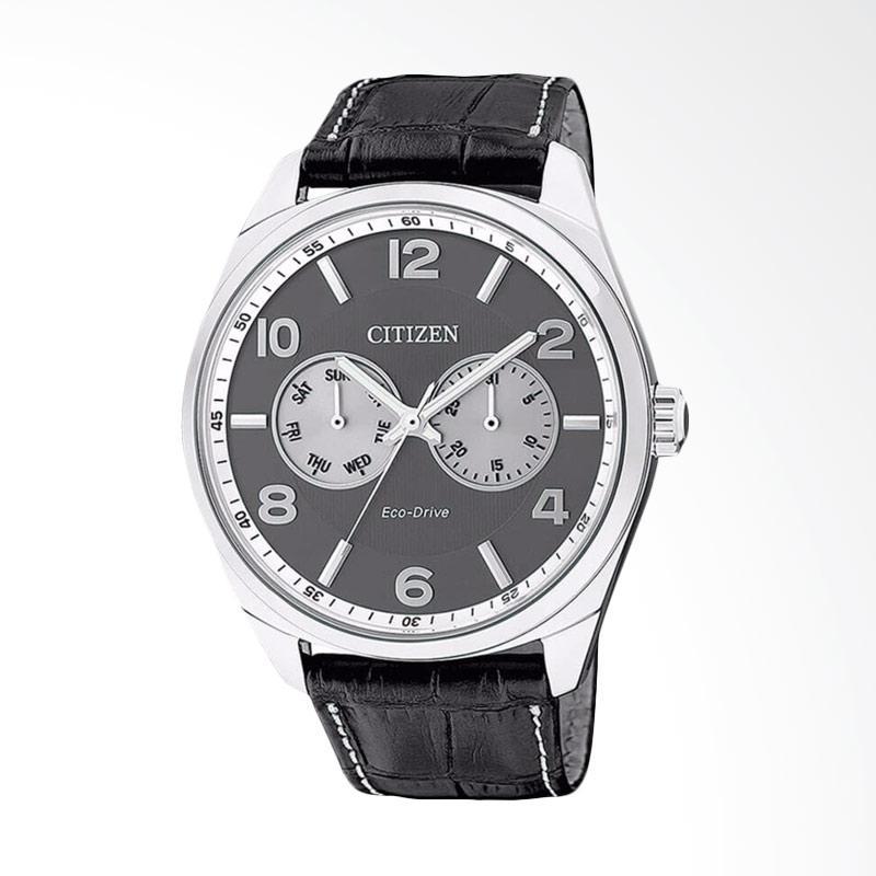Citizen Eco Drive Grey Dial Black Leather Strap Jam Tangan Pria AO9020-09H