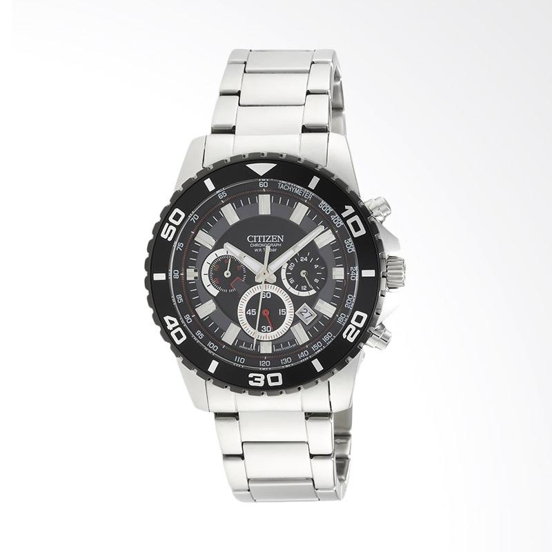 Citizen Eco-Drive Stainless Steel Jam Tangan Pria - Black Silver AN8030-58E