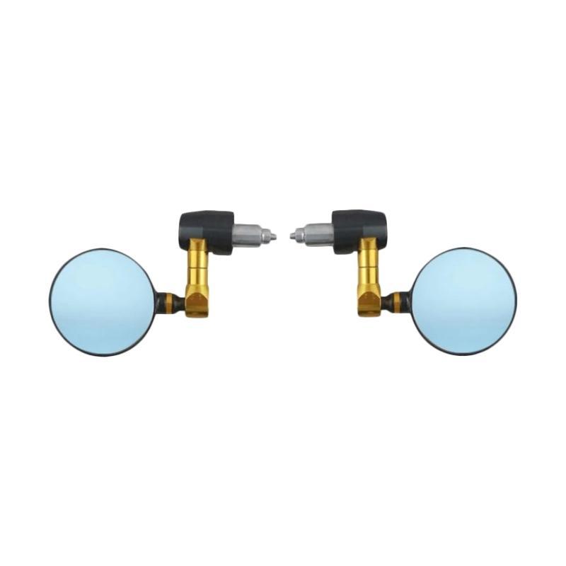 Raja Motor Bulat CNC Kaca Biru Cembung Spion Jalu - Hitam Gold [SPI9122-Hitam-Gold]