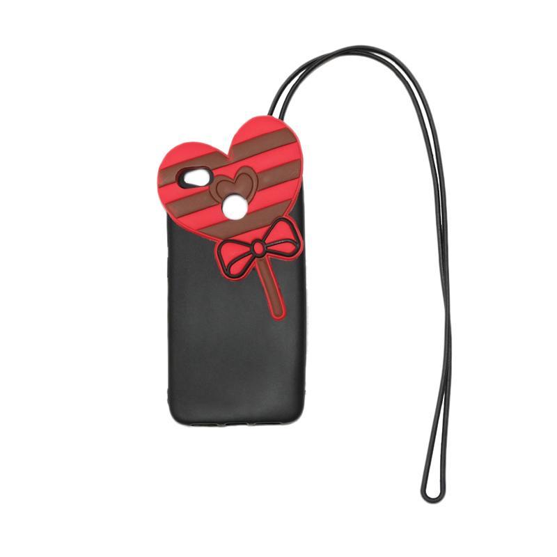 QCF Silikon 4D Karakter Candy Love Edition Softcase Casing with Kalung Tali Gantungan for Xiaomi Redmi 4x - Hitam