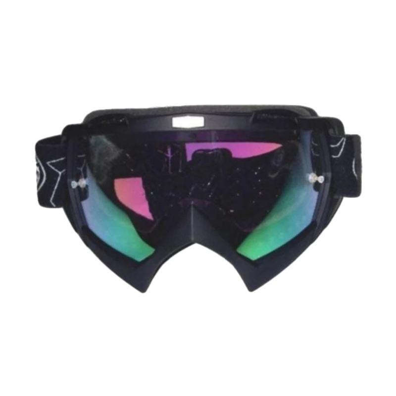 Snail Kaca Pelangi MX18 Goggles Kacamata Cross - Hijau Hitam [KMT6079PelangiHijau-Hitam]