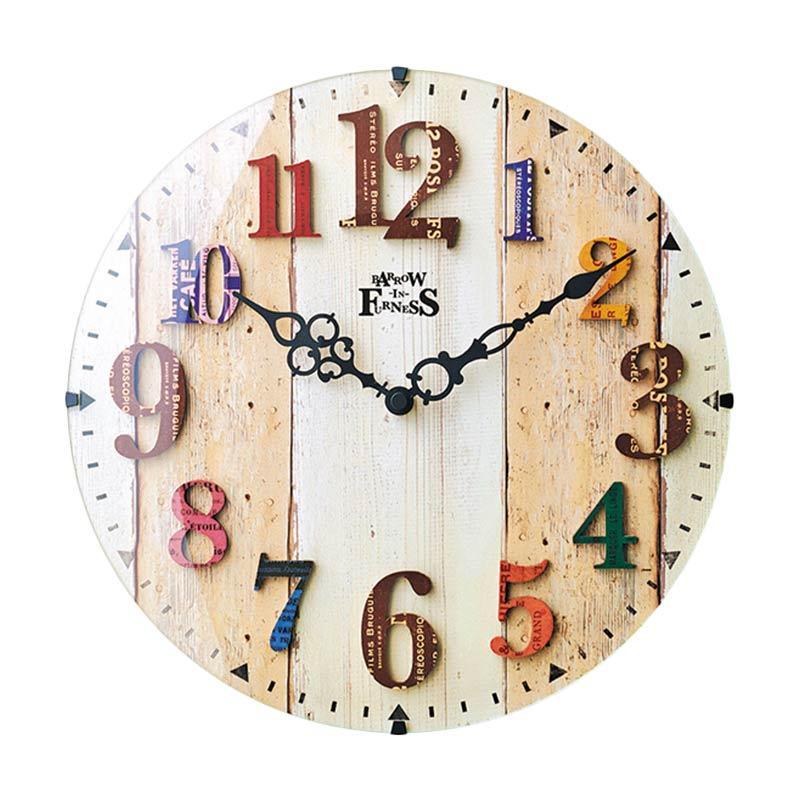 Zeller Life Amberg Classic Vintage Home Decor Round Clock Jam Dinding