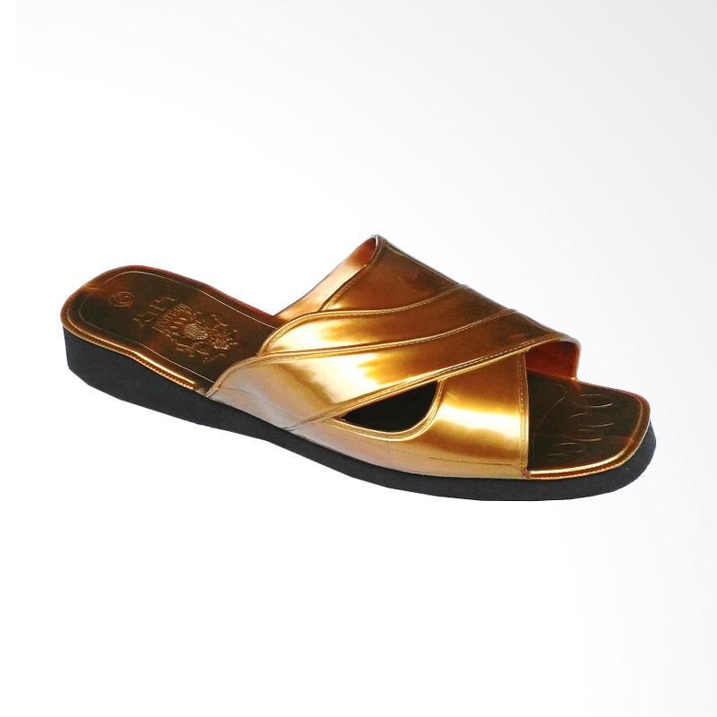 HQo Sandal Lily Slop Sendal Lili Si Pitung Klasik Sandal Pria - Gold